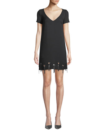 Grommet-Trim Short-Sleeve Shift Dress