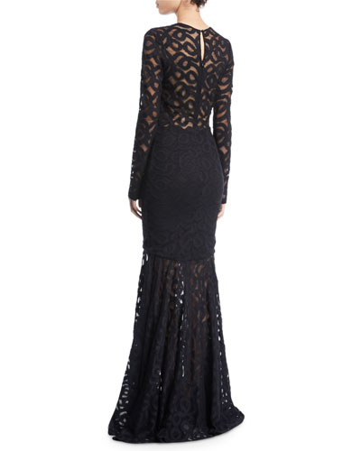 Milly Viola Sheer Long-Sleeve Fishtail Dress