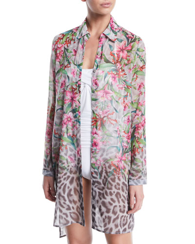 Ombre Floral/Leopard Sheer Button-Down Coverup Shirt