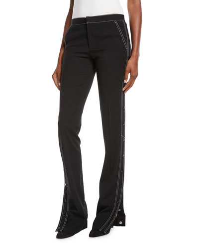 Contrast-Topstitched Side-Snap Pants