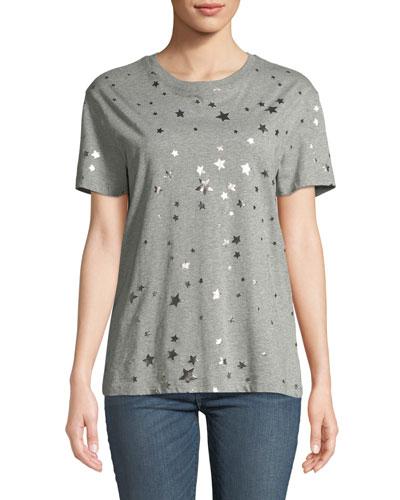 Crewneck Short-Sleeve Cotton T-Shirt w/ Metallic Stars