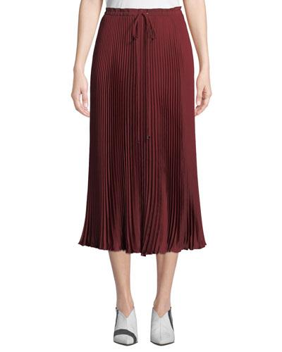 Mendini Pleated Twill Midi Skirt