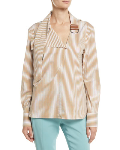 Kaia Striped Tie-Collar Long-Sleeve Shirt