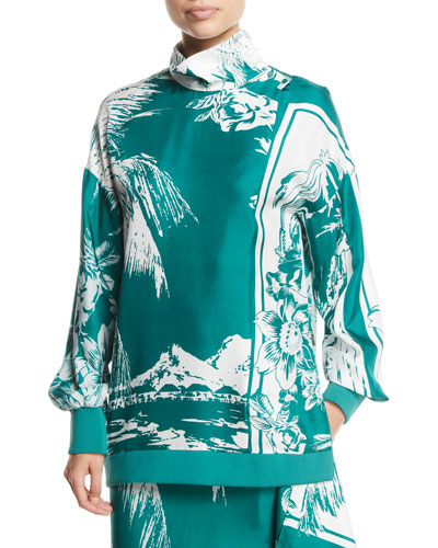 Leilani Printed Funnel-Neck Silk Sweatshirt