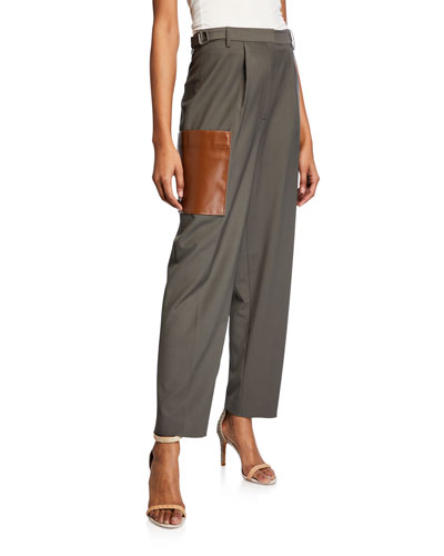 Tablier Plainweave Straight-Leg Pants w/ Leather Pocket