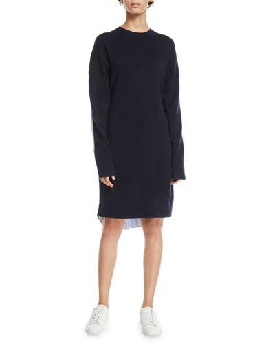 Crewneck Merino Wool Sweaterdress with Men's Shirt Combo