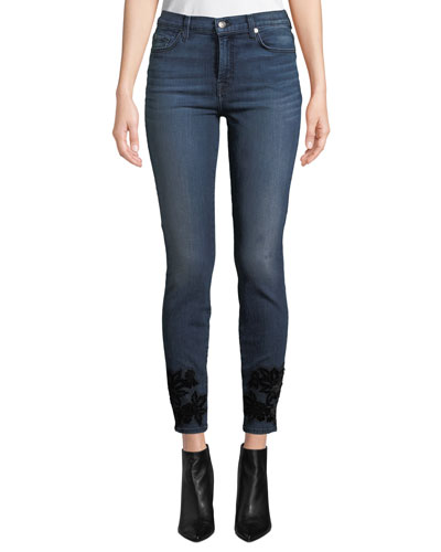 High-Waist Skinny Ankle Jeans with Velvet Floral Details
