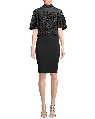 Floral Velvet Burnout Popover Dress