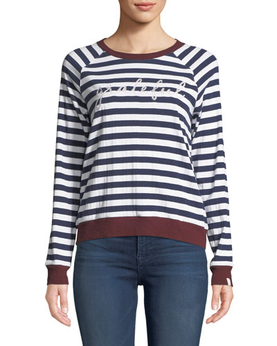 Goldie Striped Embroidered Long-Sleeve Tee