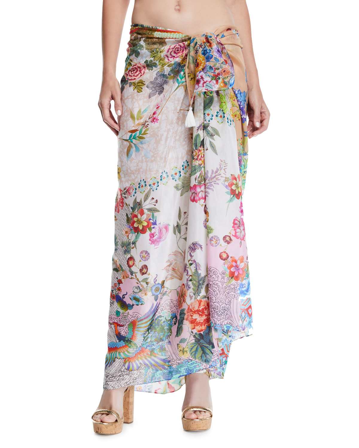 Johnny Was CAMELLIA FLORAL-PRINT COVERUP SARONG
