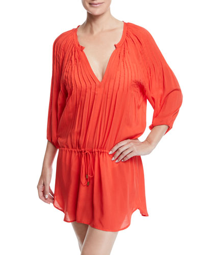 Sara Split-Neck Caftan Coverup Dress w/ Pintucking