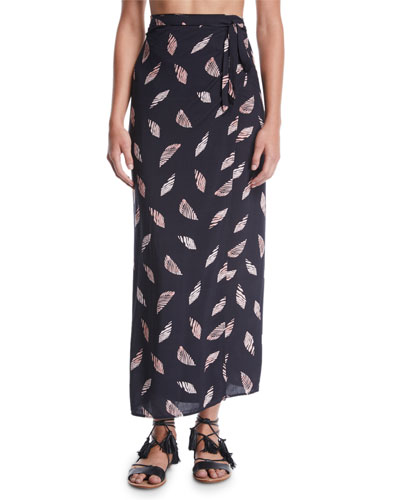 Lee Printed Wrap Coverup Skirt