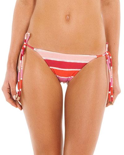 Eva Tie-Side Striped Bikini Swim Bottoms