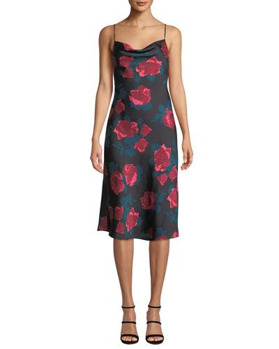 Giovanna Painted Rose Midi Slip Dress