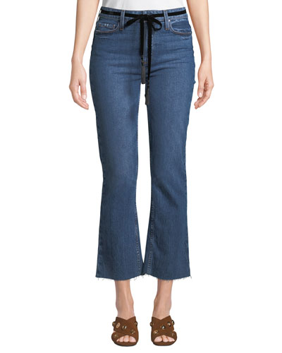 Colette Crop Flare-Leg Belted Jeans with Raw Hem