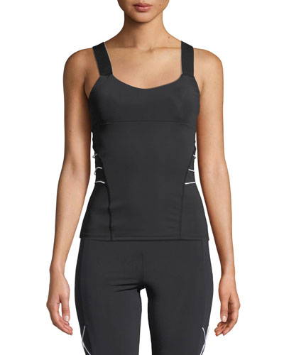 Fitted Scoop-Neck Active Tank with Cording