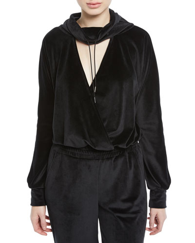 Funnel-Neck Velour Deep V Pullover Top