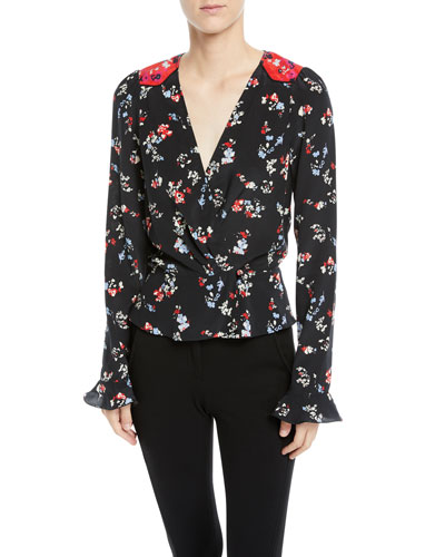 Clio Floral Long-Sleeve Silk V-Neck Top