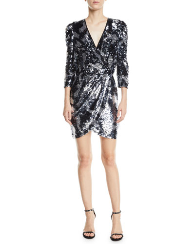 Zoey Sequined Camo 3/4-Sleeve Wrap Dress