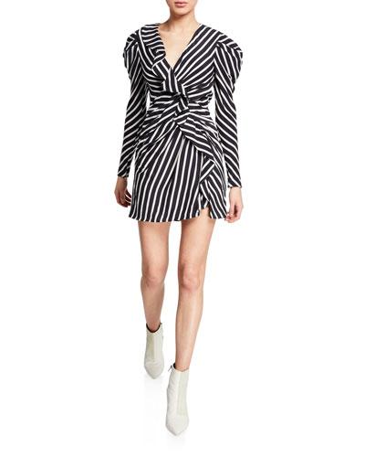 Multimedia Striped Ruffle Short Dress
