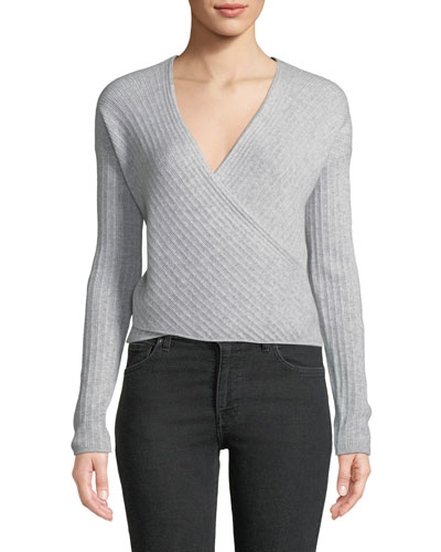 Cashmere Wrap-Front Cropped Sweater