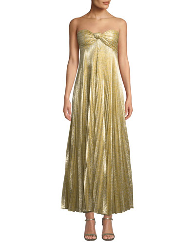Joya Pleated Strapless Knot-Front Cocktail Dress