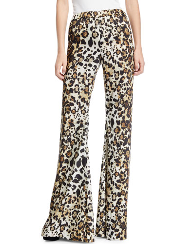 Ordell Leopard-Print Flare-Leg Pants