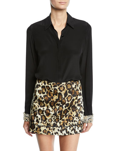 Ottavia Button-Front Silk Top with Embellished Cuffs