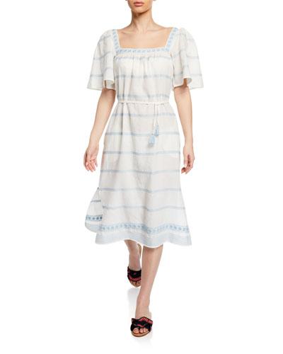 Square-Neck Short-Sleeve Embroidered Ruffle Dress w/ Tassel Belt