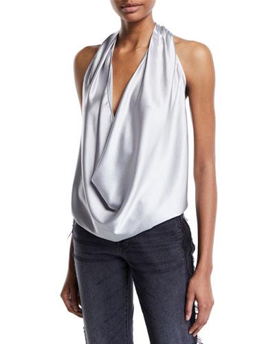 Harriet Sleeveless Draped Silk Halter Top