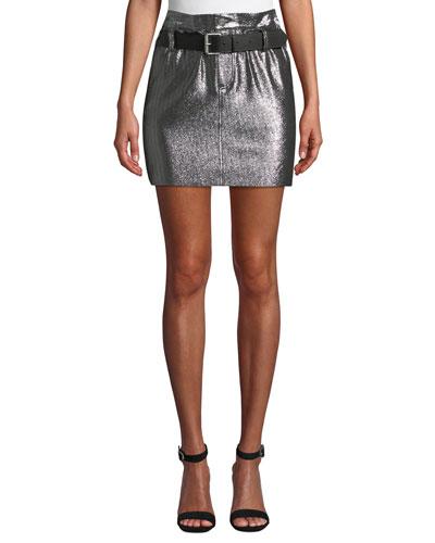 Marlin Belted Metallic Leather Mini Skirt