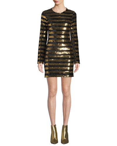 Crystal Sequined Velvet Long-Sleeve Dress