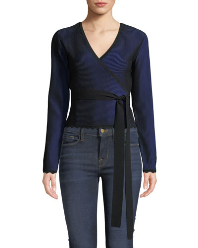 Laura Cropped Long-Sleeve Wrap Top