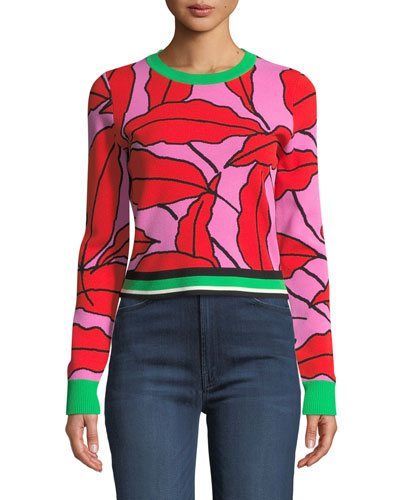 Paskavan Leaf-Print Cropped Sweater