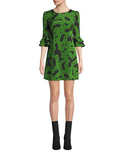 Lousie Stretch-Viscose Printed Bell-Sleeve Dress
