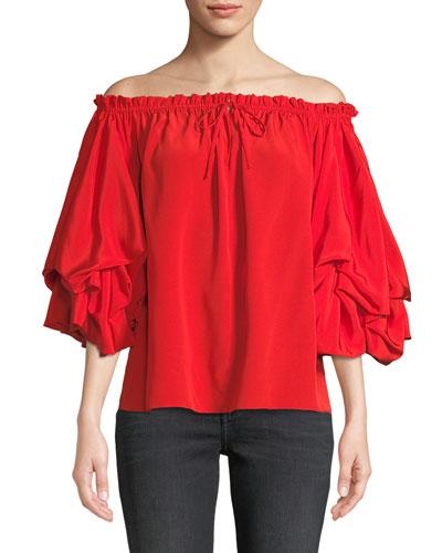 Georganne Off-Shoulder Tucked-Sleeve Top