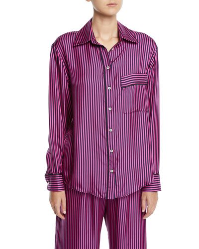 Hand In My Hand Striped Silk Button-Down Shirt