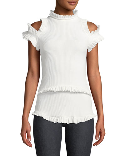 1864a6583406bd Dreaming Of You Ribbed Ruffle Cold-Shoulder Top