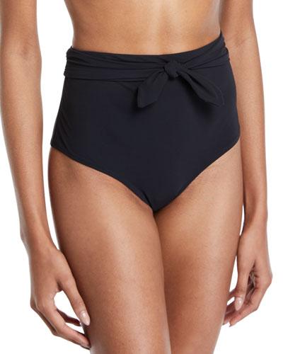 Solid Tie-Front High-Waist Bikini Swim Bottoms