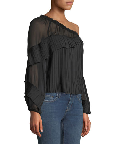 568bdea9e56f8 Aurora One-Shoulder Pleated Long-Sleeve Top Quick Look. Ramy Brook