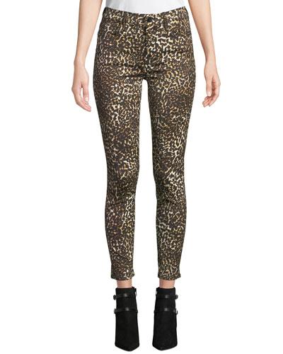 Leopard-Print Skinny Ankle Jeans