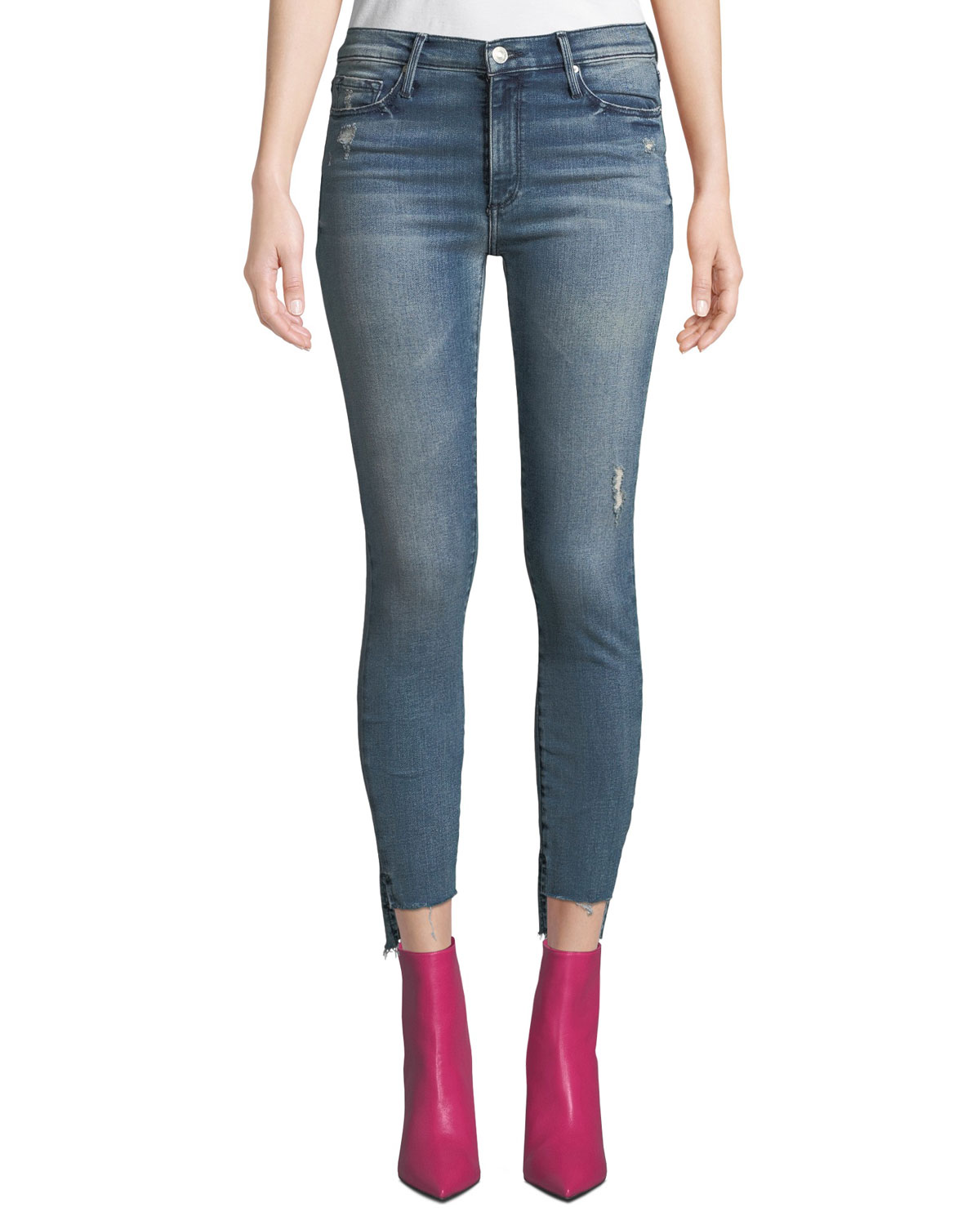 BLACK ORCHID Miranda Step-Hem Distressed High-Rise Skinny Jeans in Gust Of Wind