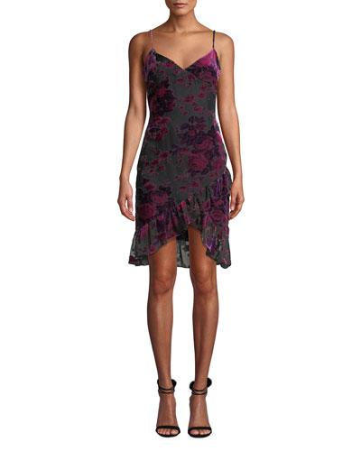 Shana Velvet Burnout Ruffle Cocktail Dress