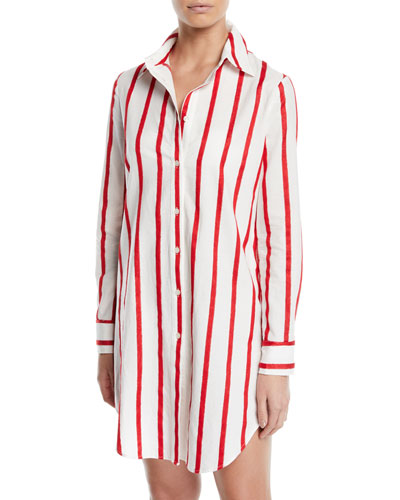 Jessica Long-Sleeve Button-Front Striped Coverup Shirt