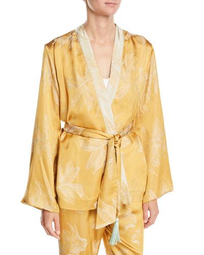 Sirena Belted Floral Jacquard Jacket