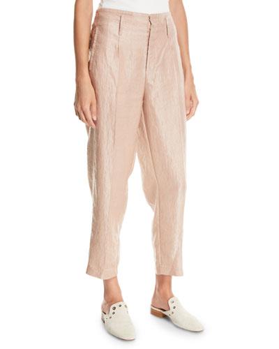 Iridescent Linen Satin Straight-Leg Pants