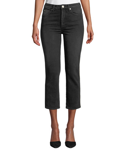 Chloe Cropped Straight-Leg Jeans with Piping