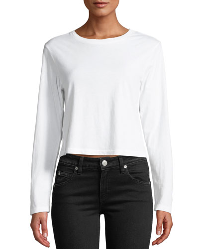 Babe Cropped Long-Sleeve Cotton Tee