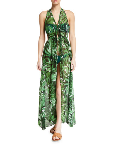 Katrina Leaf-Print Halter Coverup Maxi Dress