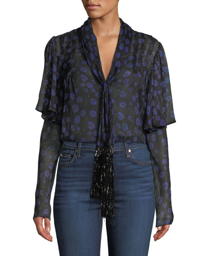 Margie Floral Tie-Neck Silk Top with Tinsel Fringe
